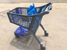 Full plastic shopping cart